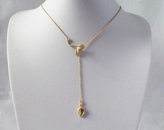 lariat necklace gold, leaf lariet necklace, long lariat necklace, short lariat necklace, y necklace, drop necklace, gift for her,