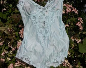 Vintage Lingerie Kit * (Body + blouse) Collection Chalice. Romantic Design m floral Lace/Valentine/Mint/CA. 1980/Transparent