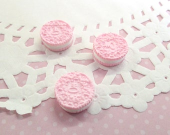 "Pink ""Oreo"" Cookie Kawaii Cabochons Decoden Sweets Miniature Cookies,  #134a"