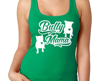 Bully Mama Women's Racerback Tank  Pit Bull tank  Bully tank Available in black blue purple green or pink SMALL -WOMENS 2X