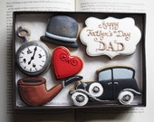 Vintage Style Fathers Day Cookie Gift Set  Can be personalised (Free UK Shipping)