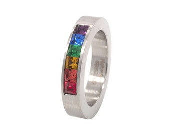 Brushed stainless steel band with rainbow gay pride stones