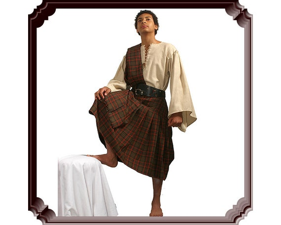 Medieval kilt & ghillie shirt Ancient highlander costume Plaid tartan set Teenage garment