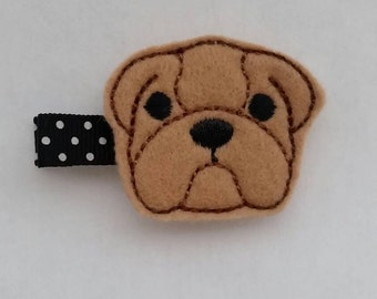 Brown dog felt hair clip