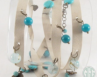 Wrap Bracelet - Suede/Leather Off White-Beige With Beads & Charms (B197)