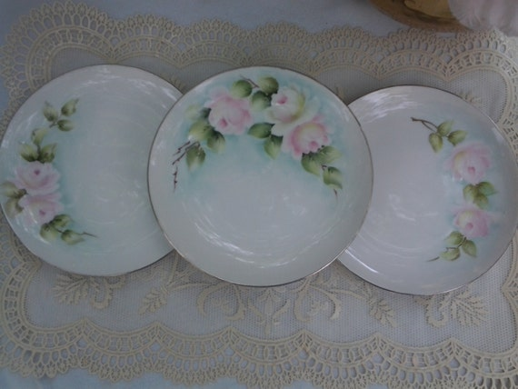 Il_570xn & Hand Painted Vintage Rose Plates Signed Collectible Silver Trim ...