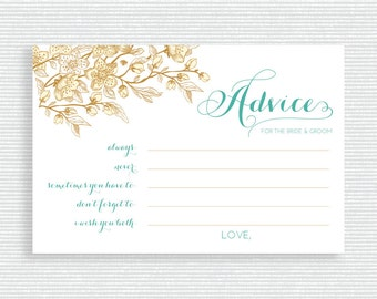 Teal and Gold Wedding Advice Cards