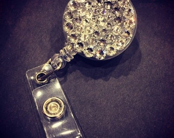 CLEAR Crystal BLING Retractable Reel ID Badge Holder made w/ Swarovski Elements