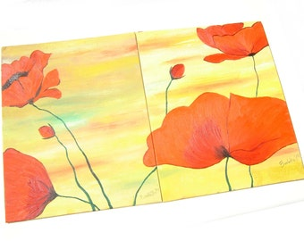 Set of Poppies - a picture painted with oils