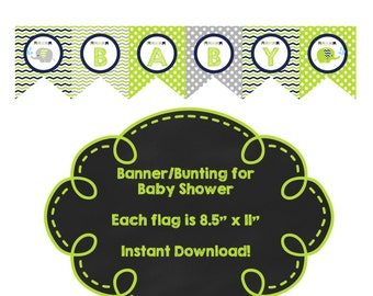 Baby Shower Elephant and Chevron Bunting/Banner *** Instant Download