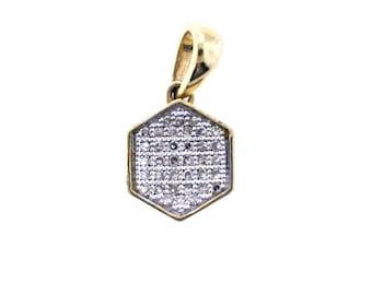 10K Yellow gold Hexagon 0.15 carats diamond Pendant