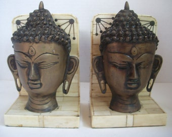 40% OFF Vintage Mid Century Marble and Bronze Zen Buddha Bookends, Were 205.00 NOW