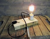 Recycled Pallet Wood Table Lamp or Wall Sconce Reclaimed  - Upcycled Wood Pallet Light Fixture
