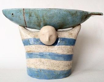 Ceramic bowl, Decorative bowl, Ceramic sculpture, Fish, Fishe rman, White, Blue