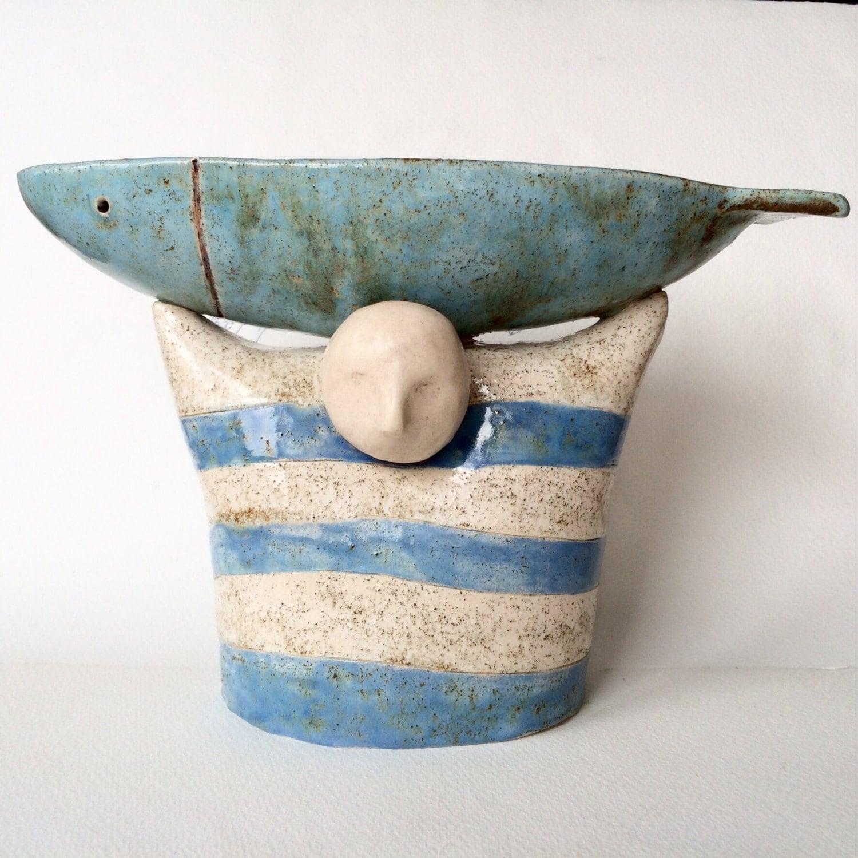Ceramic bowl decorative bowl ceramic sculpture fish fishe for Decorative fish bowls