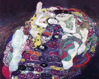 "Gustav Klimt  ""The Virgin""  1913 Reproduction Digital Print Woman Quilts Multicolor Colorful"