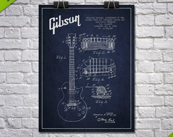 1955 Gibson Guitar Patent Poster, Patent Art Print, Patent Print, Blueprint, Wall Art, Home Decor, Gift Idea