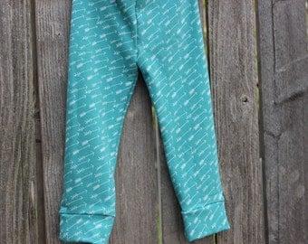 Trendy Baby Leggings in Teal Arrow Print