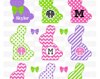 Easter Bunny Monogram Frames SVG Cut Files for Vinyl Cutters, Screen Printing, Silhouette, Die Cut Machines, & More