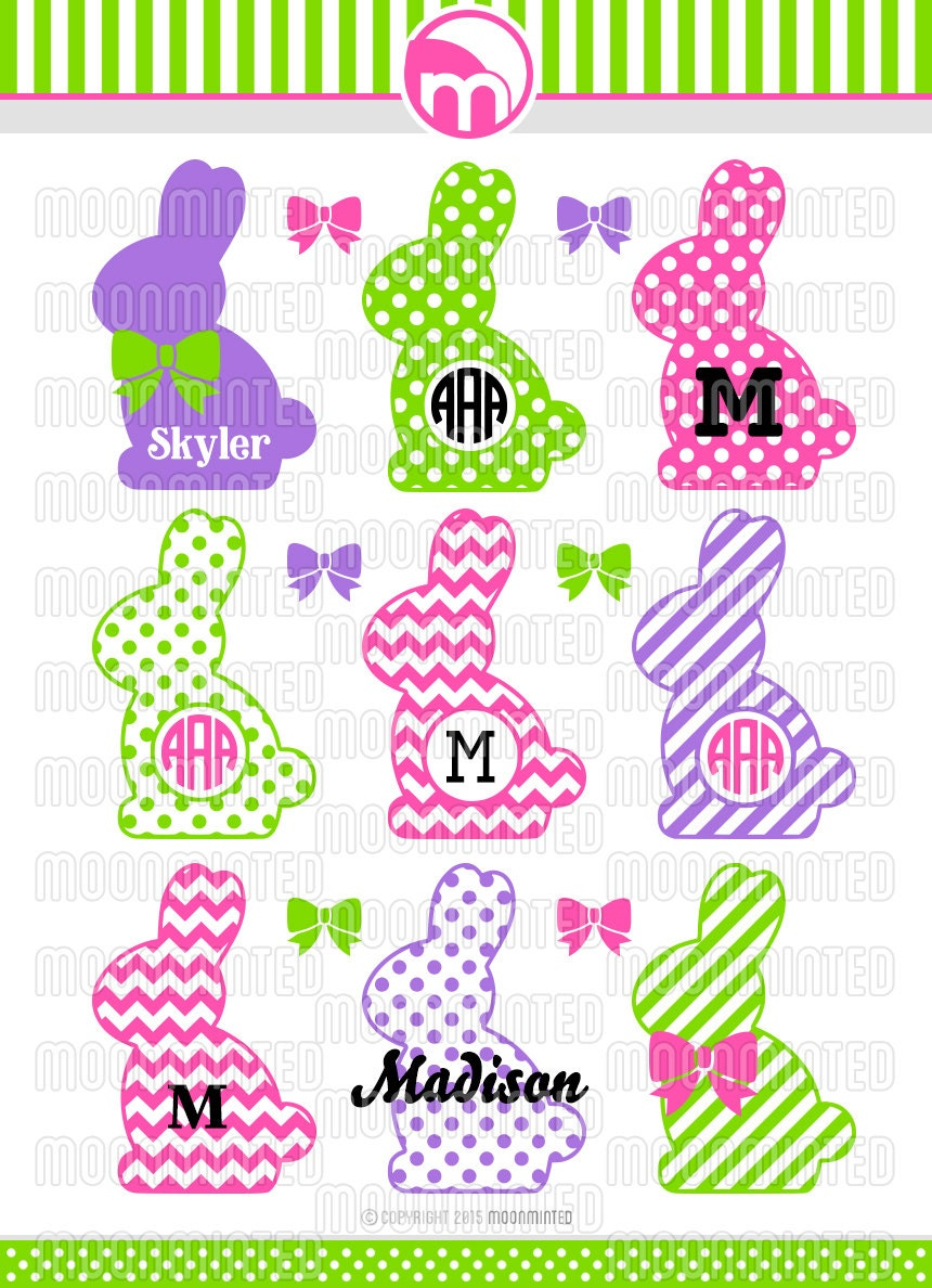 Easter Bunny Monogram Frames Svg Cut Files For Vinyl Cutters
