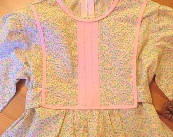 Vintage pink & yellow floral child/toddler dress, 1960s.