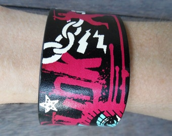 Punk Rocker Skater Pink Blue Black White Orange Green Up-Cycled Faux Leather Cuff Bracelet