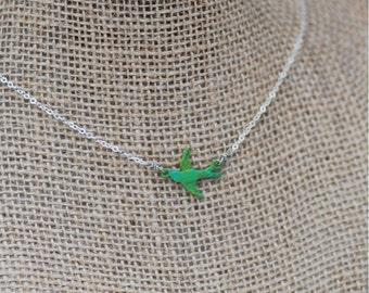 Tiny Sparrow Necklace - Aqua Green Sparrow Necklace - EmmaLeah Designs