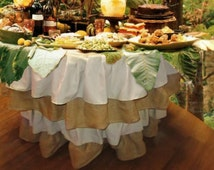 Beautiful Linen and Burlap Ruffled Table Cloth Chose your Colors and Size
