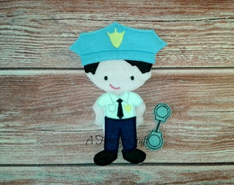 Policeman Uniform Only for Felt Non Paper Dolls Helmet Handcuffs Uniform Great for Birthday Party Favors Quiet Toddler Travel Play