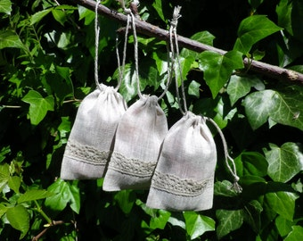"15 Natural Linen Gift Bags * Gift Wrapping * Linen Bags with Lace * Wedding Weekend Linen Bags * 4""x 5"" (10cm x 13cm)"