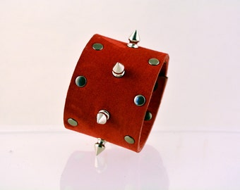 Red Leather Cuff with Spikes