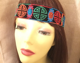 boho headband. Wide Tribal headband, Wide Hippie headband. Festival headband