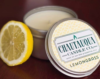 Lemongrass Soy Candle - 8 oz Tin - All Natural - Scented with Essential Oil - Handmade in USA