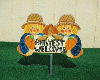 Scarecrow Harvest Welcome Yard Sign
