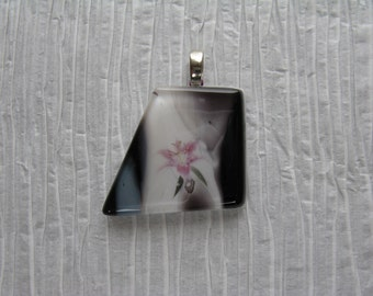 Art Glass Pendant Flower,  Glass Art Pendant Black White,  Black White Art Jewelry