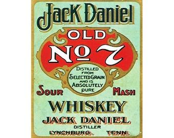 Jack Daniels old No 7 sour mash whiskey JD Vintage Advertising Enamel Metal TIN SIGN Wall Plaque