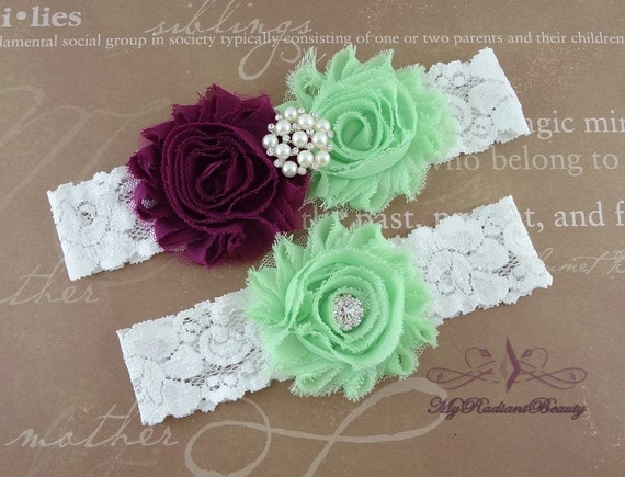 Wedding Garter, Garter, Bridal Garter, Plum and Mint Green Shabby Rosettes Chic Garter Set, Garter Belt, Wedding Handmade Garter GTF0043