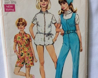 Simplicity 7648 vintage 1960's misses jumpsuit and scarf sewing pattern size 10 bust 32.5    Uncut  Factory Folds