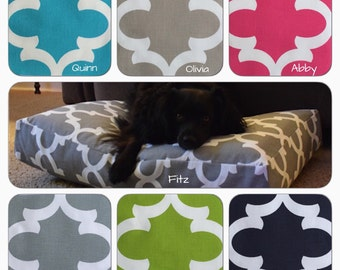 Small Dog Bed || Blue Quatrefoil || Personalize with Name || Washable Cover || Custom Pillow Cover || Three Spoiled Dogs Bed