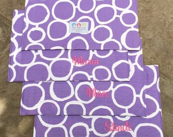 Pet Placemat    Stylish Purple Quatrefoil Bowl Mat    Custom Embroidered Water Repellent Puppy Gift Feeding Station by Three Spoiled Dogs