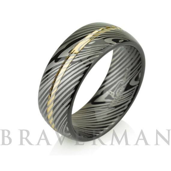 Gold Mokume Gane Tungsten - Forged Ring - Damascus Inlay - Mokume Band  - Three Color Mokume - Mokume Wedding Bands ,Mokumegane