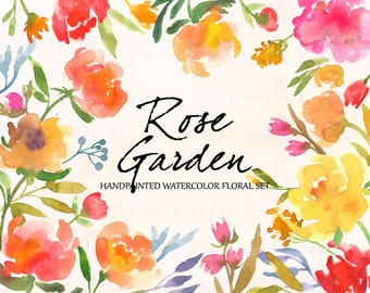 Flowers ,Hand Painted Watercolor Clipart Clip Art -Pastel Roses, blossom rose red pink, Rose Garden