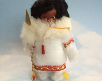 """Handmade 10"""" Canadian Inuit Native Doll in White Fur"""