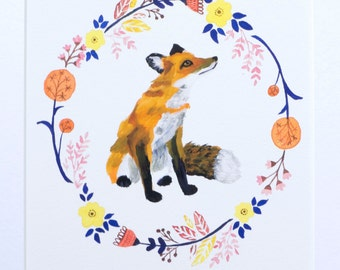 Fox Illustration Art Painting - Archival Print A4