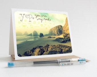 Yep. You Are My Rock / Oceanside Beach - Greeting Card