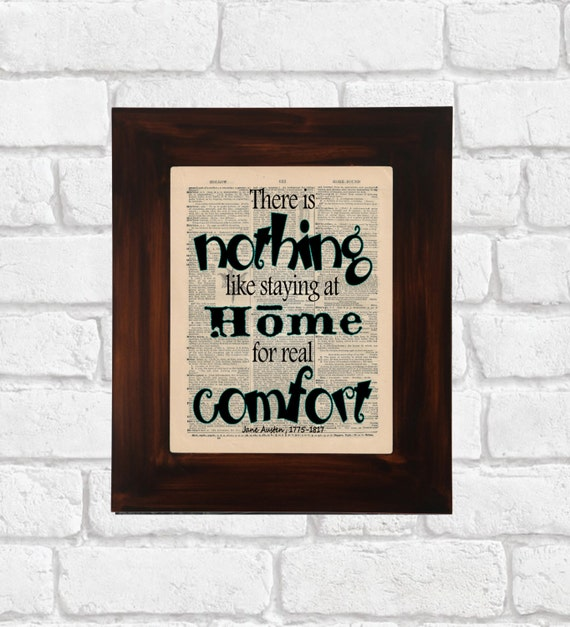 There Is Nothing Like Home Quotes: Jane Austen Quote Dictionary Print There Is By OldBookSmith
