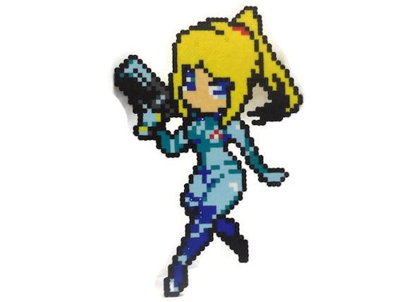 Chibi Style Zero Suit Samus Pixel Art
