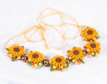 Sunflower felt necklace, Flowers felted necklace, Felt flower necklace, Brown necklace, Felt jewelry, Bridal necklace, Uk sellers only