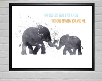 Modern Nursery Art Elephant Printable Elephant Nursery Decor Elephant - Nursery Art - Wall Art - Monochrome Art Mother and Baby Love Quote