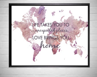 World Map Prints Large World Map Home and Living Art  - A1 Poster World Map - A2 Poster Watercolor Prints  - Large Prints World Map Poster